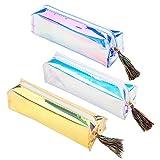 Trousse à crayons, Lot de 3mignon Plastique trousses Organiseur de sac avec fermeture à glissière, grande capacité coloré Laser pour enfants garçons filles adultes, bureau d'école papeterie