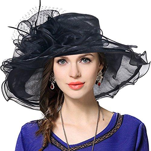 VECRY Damen Kirche Derby Kleid Fascinator Braut Mütze Britischer Tee Party Hochzeit Sonnenhüte (Schwarz)