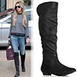 WOMENS LADIES THIGH HIGH OVER THE KNEE STRETCH LOW FLAT HEEL RIDING BOOTS SIZE
