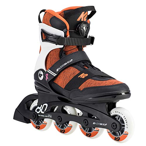 K2 Damen Inline Skates ALEXIS 80 BOA - Schwarz-Orange-Weiß - EU: 42 (US: 10.5 - UK: 8) - 30D0774.1.1.105