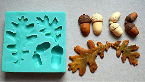 (Fiesta Fondant Kuchen Silikon Form Wald Eicheln Blätter Zuckerguss Kuchen Dekorieren Fondant Fimo Form Lebensmittelqualität für Kuchendekorationen)