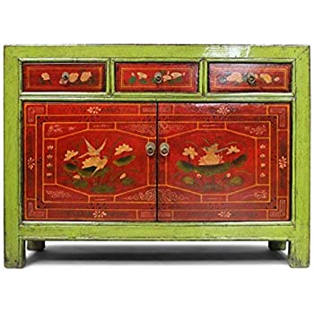 Asien Lifestyle China Kommode Restauriert Sideboard Grun