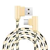 Kingko® 1M 2M USB Typ C Kabel USB 2.0 zu USB Typ-C Schnelllade- & Sync-Datenkabel 90 Grad Fast Data Sync Ladekabel (Gold, 2M)