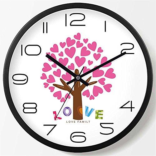 WERLM La décoration murale créative simple horloge murale salle de séjour chambre à coucher salle de séjour wall clock Horloge Horloge murale mute quartz noir, devrait être de 20 cm
