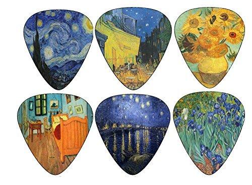 Vincent van Gogh selecciones de la guitarra - celuloide medio 12 Pack - Girasoles de la noche estrellada del café por Creanoso - Los mejores regalos de la embutidora de la media para el guitarrista - Oferta por tiempo limitado