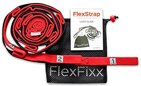 Une Plus Grande Flexibilité stretch Out Strap–Meilleur pour le yoga, danse, la thérapie physique Rehab étirement Bandes avec 12passants, Repose-pied rembourré et Bonus eBook de guide de l'utilisateur, Red