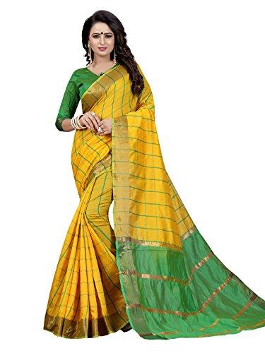 Varayu Women's Chanderi Cotton Checks Pattern Traditional Saree With Unstitched Blouse Piece(Yellow,615SJ5007)