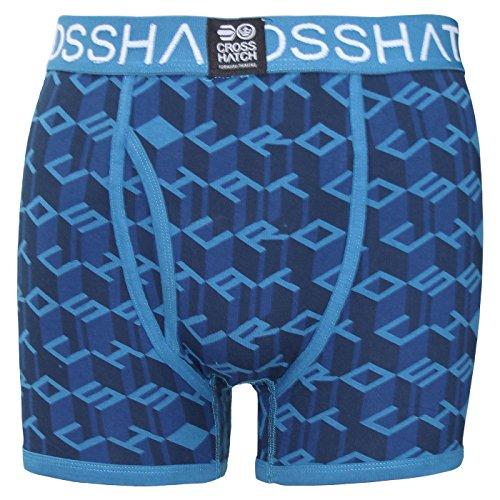 Crosshatch Checkham, Boxer Uomo (Pacco da 3) CAUSEWAY - INSEGNA BLU
