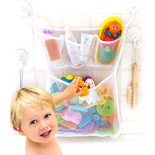OMZGXGOD - Bad Organizer für Badewannenspielzeug,Badespielzeug Aufbewahrung mit Mehreren Taschen ,Badespielzeug Lagerung , Spielzeugnetz mit 4 Selbstklebend Haken