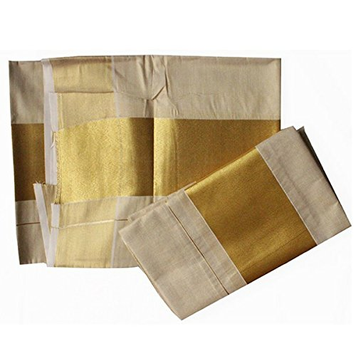 "Infant Yogiâ""¢ Women's Cotton Kasavu Set Mundu - Off-White and Gold"