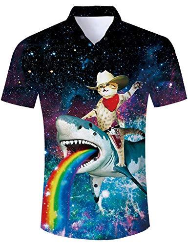 RAISEVERN Männer Casual Kurzarm Sommer Hawaiian Aloha Stil Button Down Shirts + Tunnelzug Shorts Trunks Galaxy Sharp Shark
