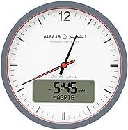 ساعة حائط دائرية من الفجر، انالوج-رقمية CR-23 - باللون الابيض