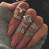 Elistelle Ring Set Damen Silber Gold Boho Midi Ringe Fingerring-Set Schmuck Set 7pcs