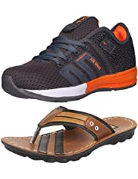 Ethics Perfect Combo Pack Of Orange Sports Shoes & Brown Slippers For Men's