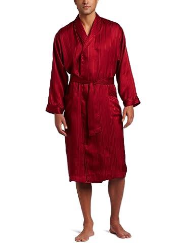 Majestic International Men's Herringbone Stripe Jacquard Silk Bathrobe, Red (Mahogany), X-Large (Manufacturer