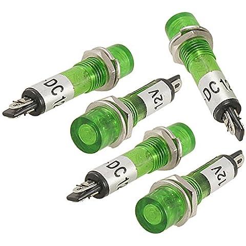 Indicador Luz Piloto - TOOGOO(R) 5 Piezas 2-Pins Lampara Verde Indicador De Senal Luz Piloto DC 12V