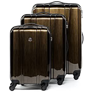 FERGÉ® Kofferset Hartschale 3-teilig Dijon Reise-Koffer Set leicht 3er Hartschalenkoffer Trolley Set (M L XL) 4 Rollen (360°) Hartschale braun