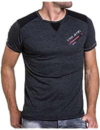 BLZ jeans - Tee-shirt homme noir effet matelassé et zip poitrine