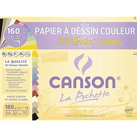 Canson-2789 ASS, 12 fogli di carta da disegno da 160 g/mq, 24 x 32 cm, colori pastello assortiti