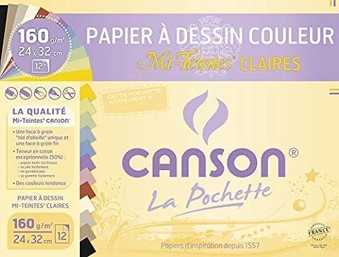 Canson Mi-Teintes Papier à dessin 24 x 32 cm 12 feuilles Claires