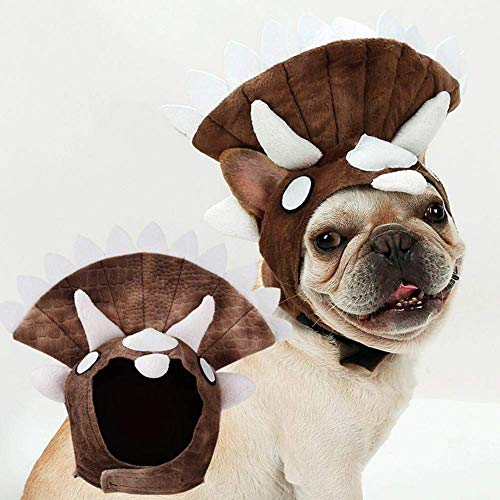 Jamisonme Cosplays Triceratops Hundekostüm, Cosplays Zubehör Kopfbedeckungen Urlaub Kostümzubehör Lustige verstellbare Hund Triceratops Kostüm