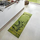 Zala Living Olive Waschbarer Küchenläufer, Polyamid, Grün, 150 x 50 x 0.5 cm