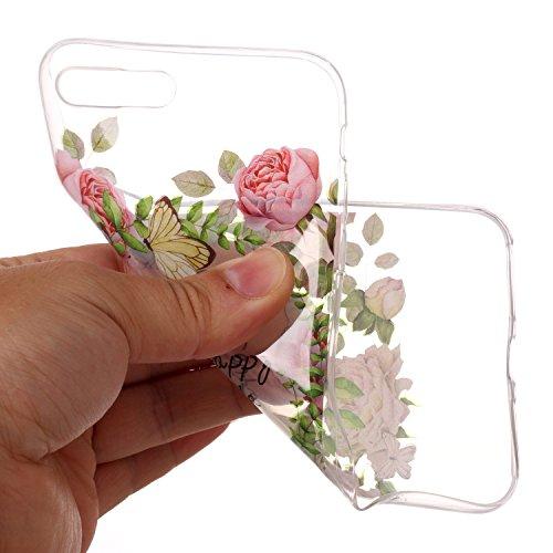 Transparente Coque pour iPhone 7 Plus / 8 Plus,SKYXD Liquid Crystal Clear Ultra Mince Premium TPU Silicone Transparent / Exact Fit / NO Bulkiness Souple Coque Pour Apple iPhone 7 Plus / iPhone 8 Plus, Feuilles vertes et Rose