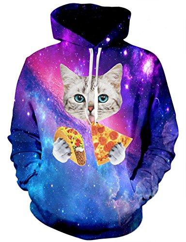 (Leapparel Herren Kapuzensweatshirt Hoodies Men 3D Grafik Galaxy Pizza Katze All-Over Print Pullover mit Tunnelzug und Große Kängurutasche und Fleece-Innenfutter)
