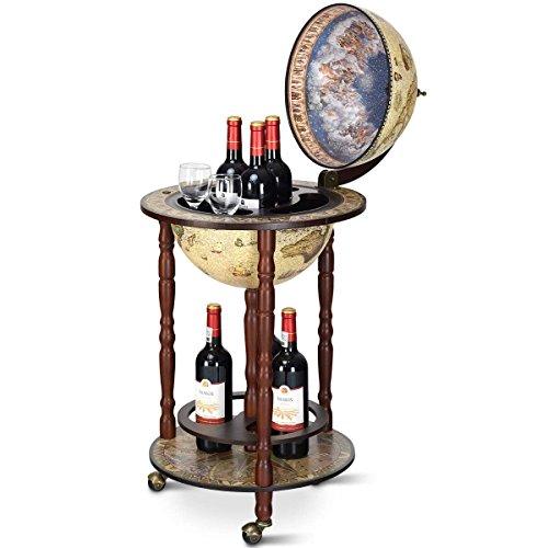 COSTWAY Minibar Globo Terráqueo Diseño Retro Estante del Vino Cóctel Whisky Bar Carrito de Bar con Ruedas