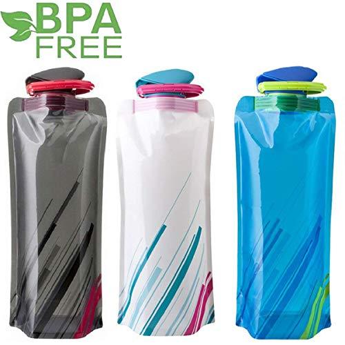 Sinwind 700ML Faltbare Wasserflaschen Set, Unisex Adult Faltbare Wasserflaschen Set von 3 Flexible zusammenklappbare Wiederverwendbare Wasser-Flaschen Trinkbeutel für das Wandern, Abenteuer (3pcs)