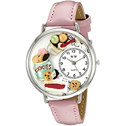 Whimsical Watches Dessert Lover Pink Leather and Silvertone Unisex Quartz Watch with White Dial Analogue Display and Multicolour Leather Strap U-0310014