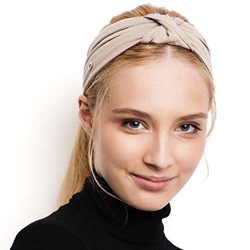 Blom, Fascia per capelli per sport, yoga o da viaggio, super confortevole, di stile e di qualità, Taupe