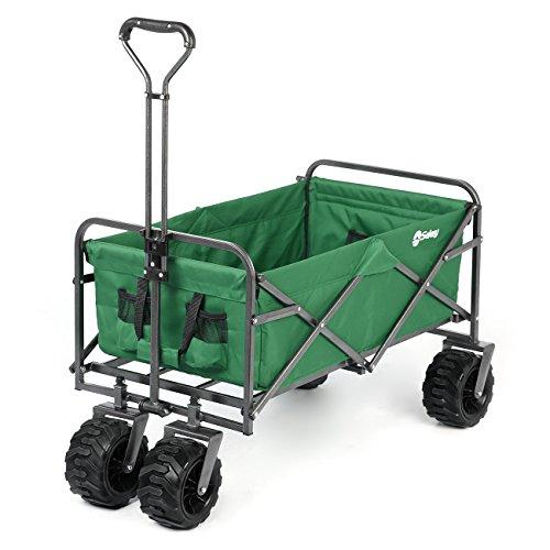Sekey Faltbarer Bollerwagen Faltwagen Handwagen Außenschubkarre Strandwagen Folding Wagon Outdoor Gartenanhänger Transportwagen für alle Gelände geeignet, Grün