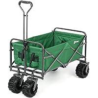 Sekey Plegable Carretillas de Carrito Plegable (Mano Carro außenschubk Arre Folding Wagon Exterior jardín Colgante Carro Playa Apto para Todo Terreno, Verde