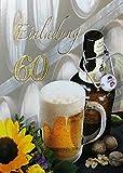 Einladungskarten 60. Geburtstag Frau Mann mit Innentext Motiv Bier Sonnenblume 10 Klappkarten DIN A6 im Hochformat mit weißen Umschlägen im Set Geburtstagskarten Einladung 60 Geburtstag Mann Frau K163