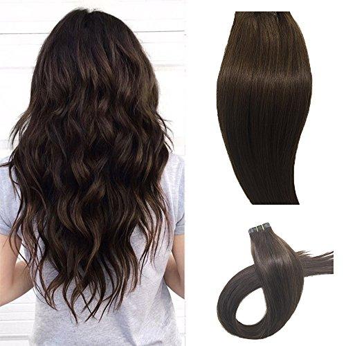 Echthaar Tape in Extensions Haarverdichtung Haarverlängerung glatt 20 Tressen x 4 cm breit 50 cm Schokobraun