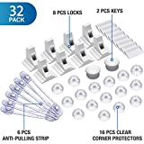Baby Proofing Kit, 32 Pcs Child Safety Cupboard Locks - 8 Cupboard Locks+2 Keys, 16 Corner Protectors, 6 Baby Safety Cupboard Straps, No Drill Required- Best Baby Safety Set