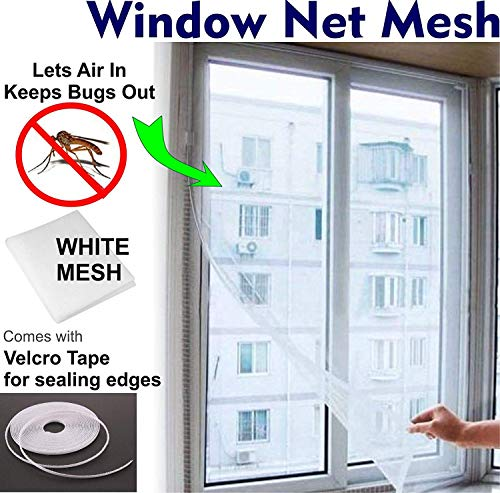 10mm Wide 1.3m x 1.5m Insect Screen Net Fly Window Screen Mesh Bug Bee Mosquito Protector with 3 Rolls Self-Adhesive Tapes 3 X Mosquito Nets for Window