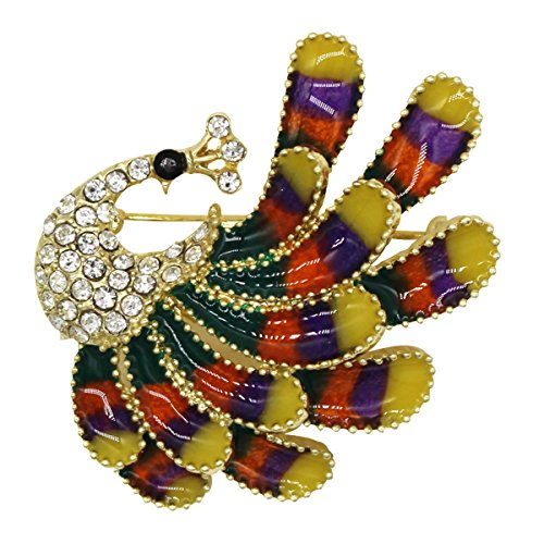 luxurina mujeres Gorgeous Pluma de pavo real Animal cristal austriaco esmalte broche Pin Multicolor tono dorado