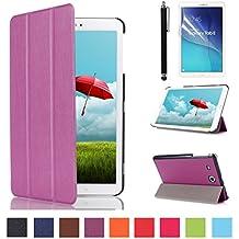Funda para Tab E 9.6'',Morado Funda de Cuero Carcasa Piel con Soporte para Tablet Samsung Galaxy Tab E 9.6'' SM-560 SM-T561 Pulgadas Case Cover BookStyle con Soporte + Protectores de Pantalla + lápiz óptic