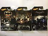 Hot Wheels Batman Set of 3 Diecast Cars - Batmobile, The Dark Knight, Arkham Knight Batmobiles by Hot Wheels