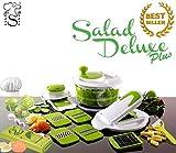Saladier, Coupe-Légumes, Trancheuse, Essoreuse pour salade, Robot de cuisine + Hacheur d'ail,...