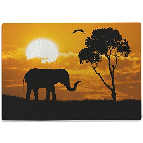 """Wandkings Glasschneidebrett """"Elefant bei Sonnenuntergang"""" - Motiv wählbar - Glasschneideplatte, Schneidebrett aus Glas, Frühstücksbrettchen"""