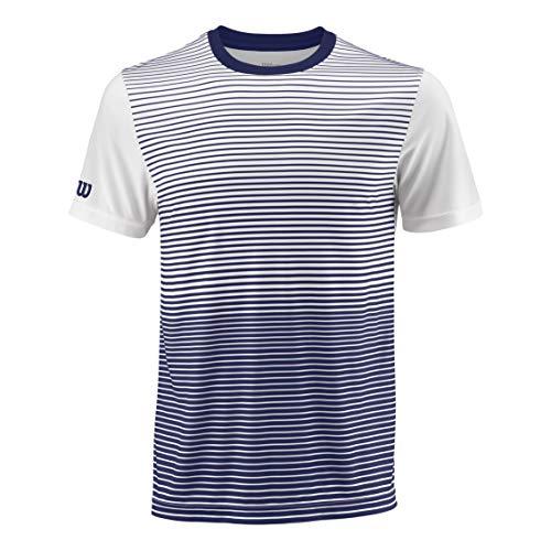 Wilson Herren Tennis-Kurzarmshirt, M Team Striped Crew, Polyester, Blau/Weiß, Größe: L, WRA769703 - Crew-tennis Shirt