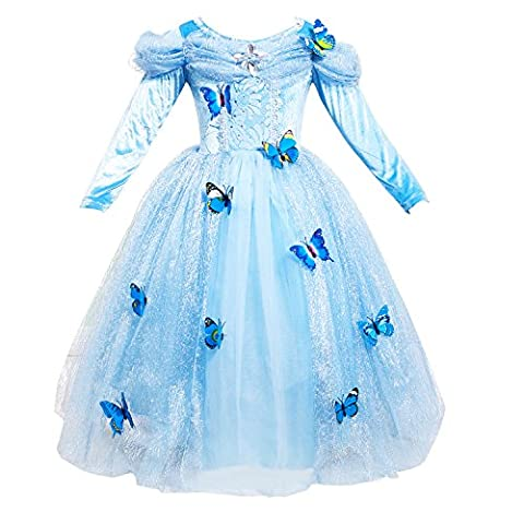 Le SSara Longues manches fille princesse Cosplay Costume bleu papillon