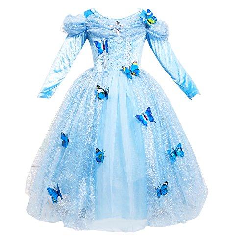 Le SSara Abito blu fantasia farfalla lunga manica ragazza principessa Cosplay Costume (100 (3T))