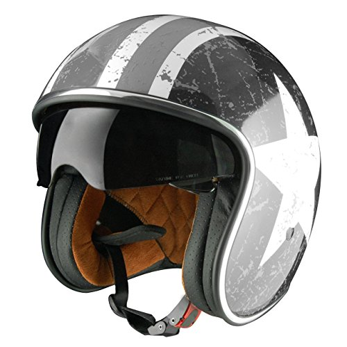 Origine Helmets Sprint Rebel Star Grey - Casco Abierta, Blanco/Gris, S (55-56 cm)