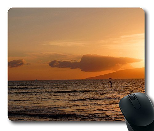 Gaming Mouse Pad Beach Lahaina Maui Hawaii Oblong Shaped Mouse Mat Design Natural Eco Rubber Durable Computer Desk Stationery Accessories Mouse Pads For Gift Support Wired Wireless or Bluetooth Mouse