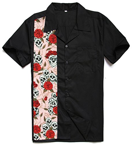 Candow Look Men Work Shirt Floral Skull Print Panel Plus Size Cotton ST110FS (Button-up-shirt Panel)
