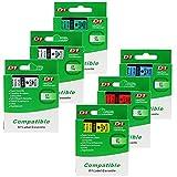 Ensemble de 6 Rubans Cassettes Compatible avec Dymo D1 45010 45013 45016 45017 45018 45019 12mm x 7m Multi-Couleurs dans Un Ensemble: Noir sur Transparent, Blanc, Bleu, Rouge, Jaune, Vert pour DYMO LM 160 210D 260P 360D 420P 450D 500TS WiFi PnP LW 450 DUO